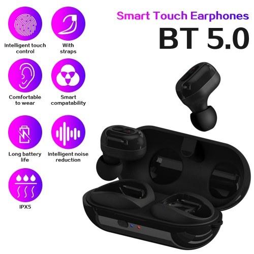 Спортивные наушники TWS-N9 Стерео беспроводные наушники BT5.0 Наушники-вкладыши для наушников с перезаряжаемым зарядным устройством 300 мАч с поддержкой зарядки без проводов Совместимость с Android / iOS