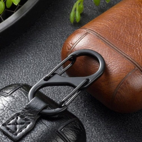 Leather Case Wireless Earphone Cover Cases Compatible with Air Pods Headphone Box Protective Case with Climbing Hook