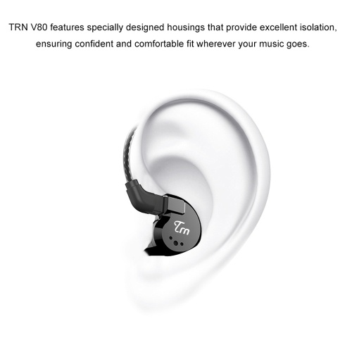 TRN V80 3.5mm In-ear Headphones 2DD+2BA Hybrid HiFi Sports Headset Music Earphone 2pin Detachable Cable In-line Control with Mic