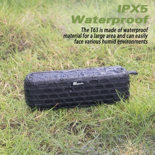 ES-T63 Waterproof Solar Bluetooth 4.0 Speaker Wireless HiFi Speaker with LED Light for Outdoors Climbing Cycling with Built-in Mic