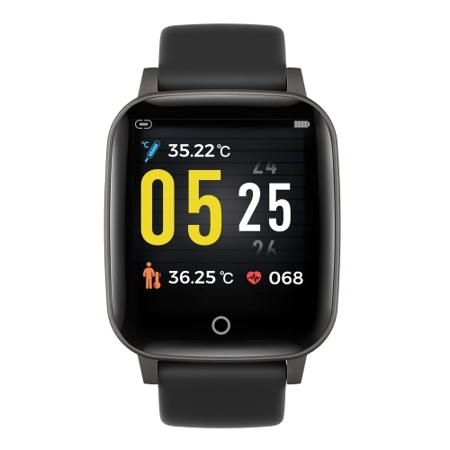 T1S Fitness Watch 1.3in Color Screen Sport Intelligent Fitness Tracker IP67 Waterproof Heart Rate Sleep Quality Temperature   Monitoring Wrist Watch