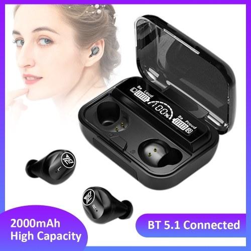 BT5.1 Connected Sport Earphone Earbud com controle de sensor de toque sensível Multifuncional 2000mAh de alta capacidade de carga de design Mini portátil para presente preto