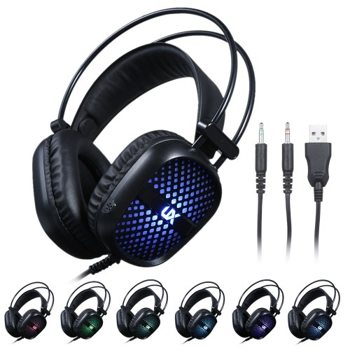 Gaming Headset Noise Reduction Stereo Headphone Illuminated Lighting Design 2 * 3.5mm Port Wired Earphone