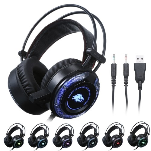 Gaming Headset Noise Reduction Stereo Headphone Illuminated Design 2 * 3.5mm Port Wired Earphone