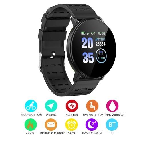 119Plus Intelligent Watch IP67 Водонепроницаемый браслет для измерения пульса Спортивный ремешок (черный)