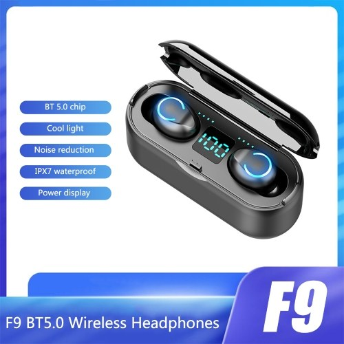 F9 BT5.0 Wireless Headphones Cool Light Noise Reduction Touch Control IPX7 À Prova D 'Água 1200mAh Charge Box Power Display Phone Holder (Preto)