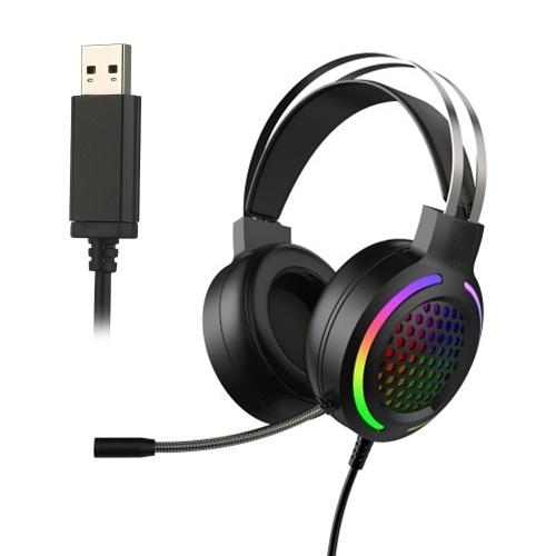 USB-Gaming-Headset 7.1 Stereokanal-Over-Ear-Kopfhörer E-Sports-Kopfhörer mit Mikrofon-einstellbarem Kopfbügel für Desktop-PC