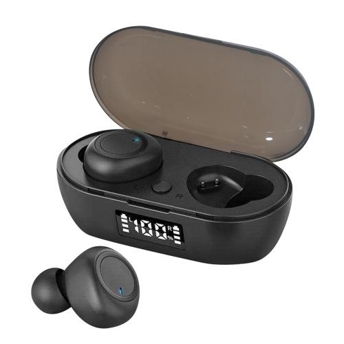 Bluetooth 5.0 Mini TWS Ohrhörer Echte kabellose Kopfhörer Sport-Headset In-Ear-Ohrhörer mit Mikrofon-Ladekoffer Batterie Digitalanzeige