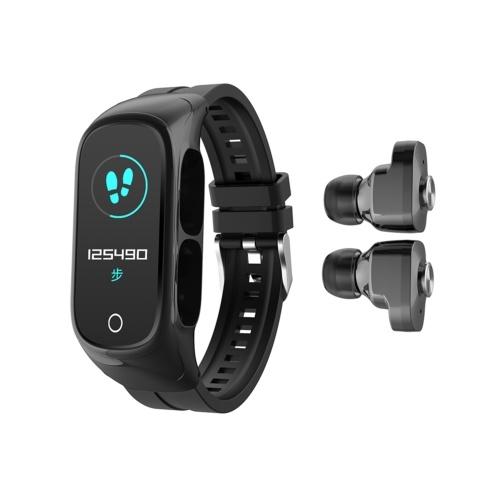 2-In-1 Smart Watch TWS Earbuds Fitness Tracker True Wireless BT5.0 Headphones Pedometer Calorie Counter Activity Tracker Smart Bracelet Wrist Band Heart Rate Blood Pressure Sleep Monitor
