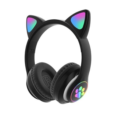 STN-28 Fone de ouvido de música de ouvido brilhante Fone de ouvido de gato brilhante Fone de ouvido sem fio BT5.0 dobrável com microfone AUX IN TF Cartão MP3 Player Luzes LED coloridas para computador laptop PC Telefone celular