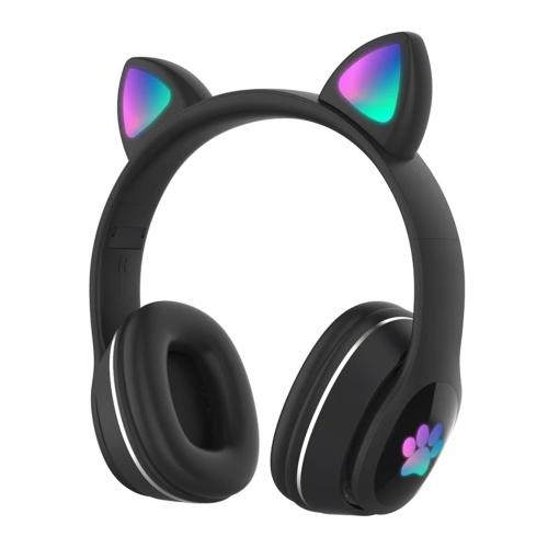 L400 Over Ear Musik-Headset Glühende Katzenohr-Kopfhörer 7 farbige Atemlichter Faltbarer drahtloser BT5.0-Kopfhörer mit Mikrofon AUX IN TF-Karte MP3-Player für PC Laptop Computer Mobiltelefon