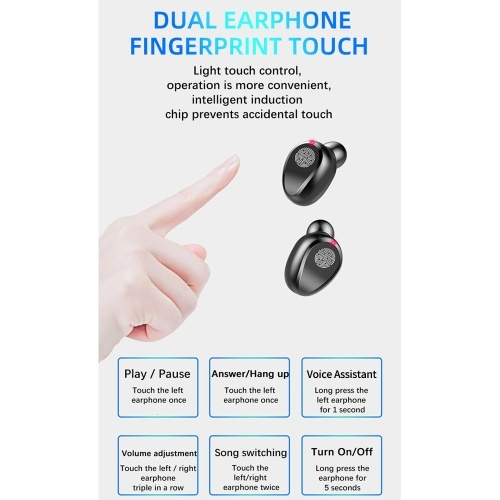 Wireless Earbuds Headset BT5.0 Earphone LEDs Digtal Display Ture Wirelessly Stereo Touching Control Headset Sports Headphones