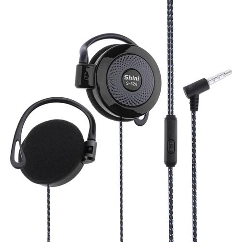 SHINI S520 Auriculares con cable de 3,5 mm Auriculares con gancho para la oreja Auriculares deportivos para juegos estéreo con micrófono para teléfono