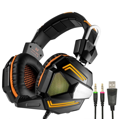 KOTION EACH G5000 Professional 3.5mm Gaming Headsets Bass Stereo Headphone Noise Cancellation Comfortable Handband with Mic Breathing LED Light Orange for Laptop Computer