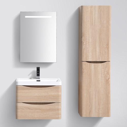 Meuble de salle de bain suspendu avec simple vasque coloris Brun (Droite)