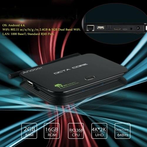 Segunda mão Andoer Z4 Android 5.1 TV RK3368 Octa-Core 64 Bits 2G / 16G UHD 4K * 2 K Mini PC Miracast / DLNA H.265 WiFi & LAN Leitor de Mídia Inteligente com Controle Remoto