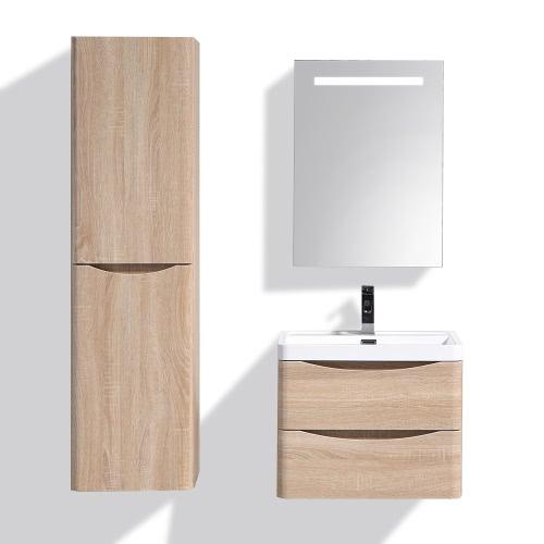 Meuble salle de bain suspendu simple vasque - Coloris Chêne