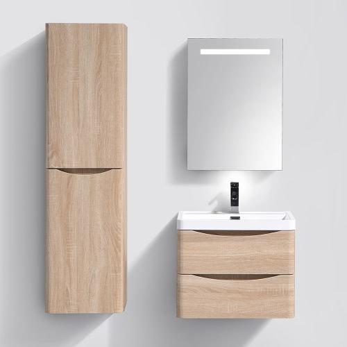 Meuble de salle de bain suspendu avec simple vasque coloris Brun (Gauche)