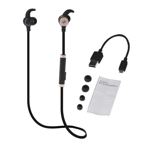 GS-BT215 BT 4.1 casque In-ear Stereo Headset Outdoor Sport Musique Earphone mains libres w / Mic Noir + Gold pour Running Gym Exercise