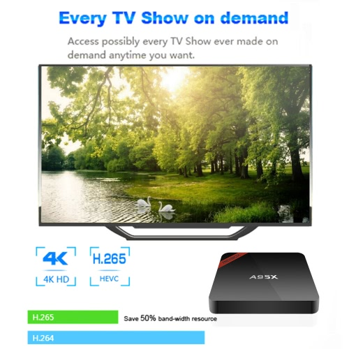 Docooler NEXBOX A95X Smart Android TV Box Android 6.0 Amlogic S905X Quad core 64bit UHD 4K 2G/16G VP9 Mini PC WiFi & LAN H.265 DLNA Miracast Media Player EU Plug