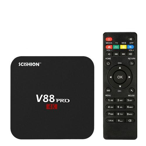 SCISHION V88 PRO Smart Android 6.0 TV Box Amlogic S905X Quad Core 64bit 2G / 16G KODI16.1 XBMC VP9 UHD 4K HD Mini PC WiFi DLNA Miracast Media Player UK Plug