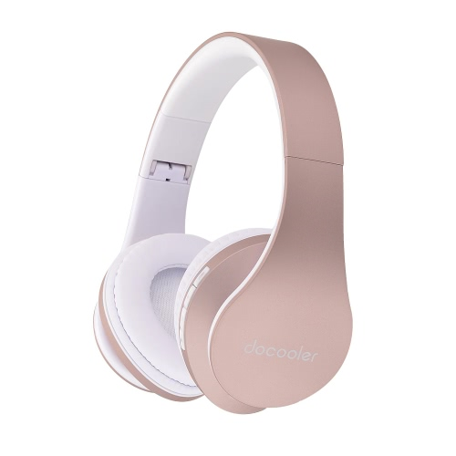 Docooler JH-812 Casque stéréo BT sans fil BT 3,5 mm 4.1 casque filaire écouteur Lecteur MP3 TF Radio FM Mains libres w / Mic Rose d'or pour iPhone 6S 6S plus Samsung S6 S5 Note 6 5 Ordinateur Portable