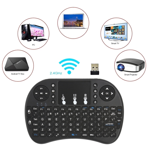 2.4GHz Wireless Keyboard with Touchpad Mouse Handheld Remote Control for Android TV BOX PC Smart TV Black