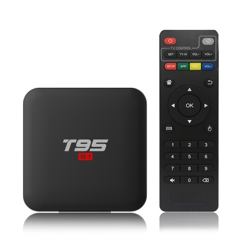 T95 S1 Android 7.1 Caixa de TV Amlogic S905W Smart TV Set Top Box Quad Core de Controle Remoto H.265 2 GB / 16 GB 2.4G WiFi LAN 100 M LAN Media Player Display LED