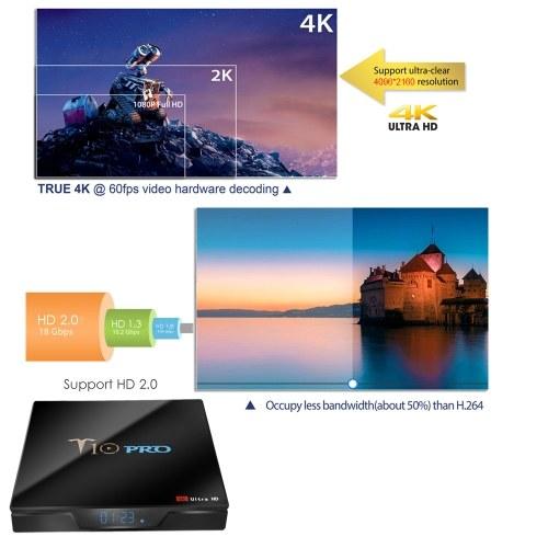 T10 PRO Smart Android 8.1 TV Box Cortex-A53 S905X2 Quad-core UHD 4K VP9 H.265 4GB+64GB Dual-band Wi-Fi Bluetooth4.1 HD Media Player LED Display Screen Video Player Support 64GB TF Card EU Plug V5888EU-64G