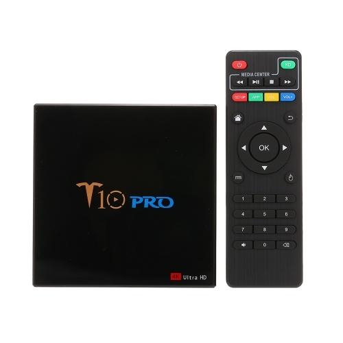 T10 PRO Smart Android 8.1 TV Box Cortex-A53 S905X2 Quad-core UHD 4K VP9 H.265 4GB+32GB Dual-band Wi-Fi Bluetooth4.1 HD Media Player LED Display Screen Video Player Support 64GB TF Card UK Plug