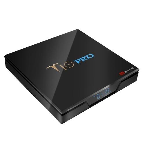 T10 PRO Smart Android 8.1 TV Box Cortex-A53 S905X2 Quad-core UHD 4K VP9 H.265 4GB+64GB Dual-band Wi-Fi Bluetooth4.1 HD Media Player LED Display Screen Video Player Support 64GB TF Card US Plug