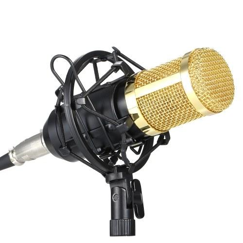 BM800 Конденсаторный микрофон Lit Pro Audio Studio Запись и вещание Регулируемый микрофон Подвеска Ножничный рычаг Поп-фильтр Черный + Золотой