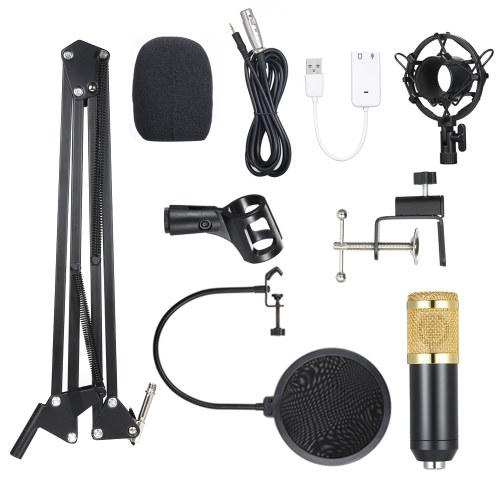BM800 Condenser Microphone Lit Pro Audio Studio Recording & Brocasting Adjustable Mic Suspension Scissor Arm Pop Filter Black+Golden