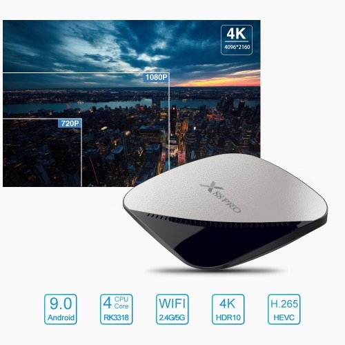 X88 PRO Smart Android 9.0 TV Box Rockchip RK3318 Quad Core 64 Bit UHD 4K VP9 H.265 4GB / 64GB 2.4G / 5G WiFi HD Media Player Remote Control