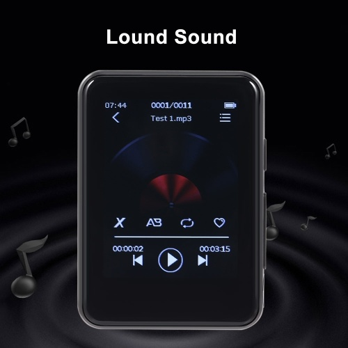 BENJIE X5 16GB MP3 Player Full Touch Screen Bluetooth 5.0 Portable Music Player FM Radio with Headphones