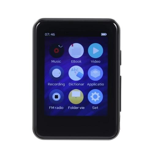 BENJIE X5 8 GB MP3 Player Tela de toque completa Bluetooth 5.0 Leitor de música portátil Rádio FM com fones de ouvido