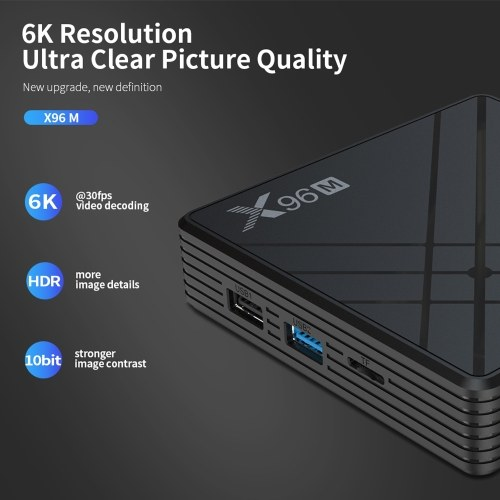 X96M Smart TV Box Android 9.0 Allwinner H603 Cortex-A53 Quad Core 64 Bit 2GB RAM/16GB ROM 2.4G WiFi Support TF Card 6K HD Media Player Set