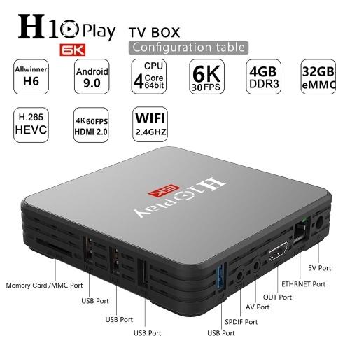 H10 PLAY Smart TV Box Android 9.0 Allwinner H6 Cortex-A53 Quad Core 64 Bit 4GB RAM/32GB ROM 2.4G WiFi Support TF Card H.265 Decoding 6K HD Media Player Set