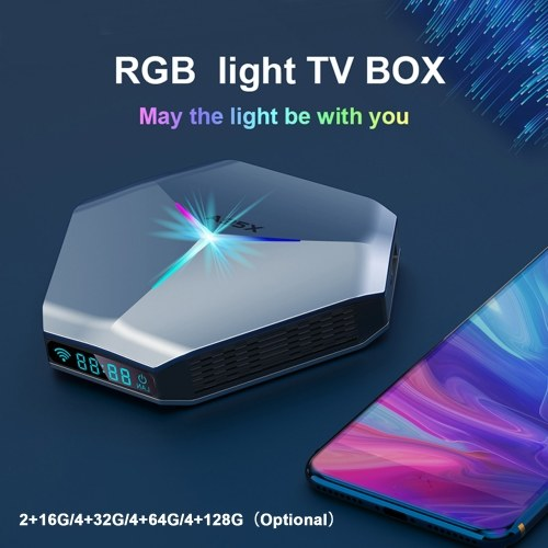 A95X F4 Samrt TV Box Android 10.0 8K Media Player 4K 3D 2.4G/5G WiFi Amlogic S905X4 Quad Core ARM Cortex A55 with Remote Control RGB Light Support HD/AV/Optical Out