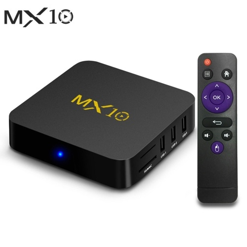 MX10 Smart Android 9.0 TV Box RK3328 4K VP9 H.265 HDR10 USB3.0 4GB / 32GB DLNA Miracast WiFi LAN HD Media Player UK Plug