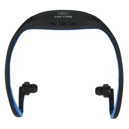 Lecteur de musique numérique compact double canal sport MP3 avec fonction FM Casque d'écoute sans fil enfichable noir + bleu pour lecteur multimédia