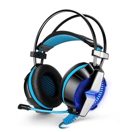 KOTION EACH GS700 3.5mm Gaming Headphone w/ Mic Noise Cancellation Music Headset Cool LED Lamp Black-blue for PS4 XBOX 360 Tablet PC Mobile Phones