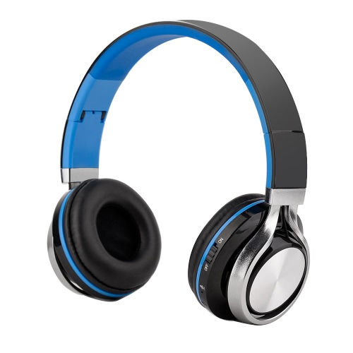 A-350 Wireless Bluetooth Headset Over-ear Stereo Music Headphone 3.5mm Line-in Hands-free with Mic Folding Headband Earphone Black with Blue for iPhone 6S Samsung S7 Note 5 Notebook MP3 MP4 Other Bluetooth-enabled Audio Devices