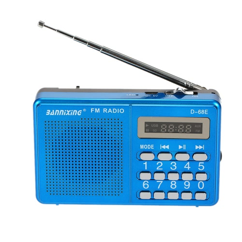 BANNIXING D-68E FM Radio Speaker Digital Audio Player Support U Disk TF Card Playback Stereo Music Player Blue