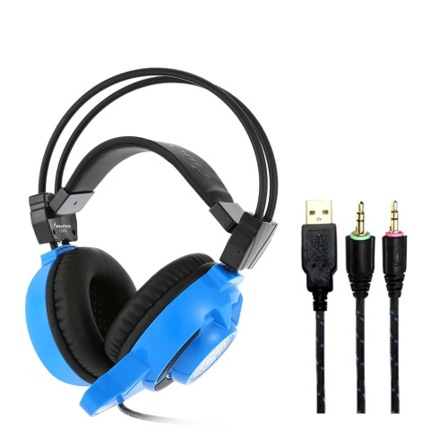 ewave LY810 3.5mm Gaming Headset Over Ear Stereo Game Headphone Noise Cancellation Headband with Mic Volume Control Colorful LED Light Blue for Laptop Computer PC