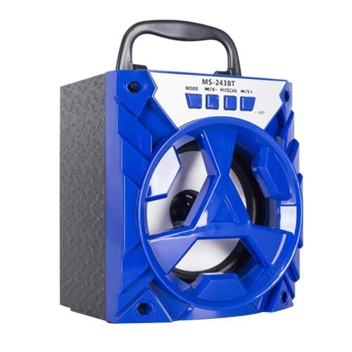 MS-243BT Alto-falante BT sem fio Portable Multimídia Alto-falante móvel USB e 3,5 milímetros Reprodução de música de áudio com slot de cartão TF Rádio FM para smartphones Comprimidos e outros dispositivos habilitados para BT