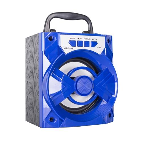 MS-244BT Player de música Alto-falante BT sem fio Rádio FM de áudio de 3,5 mm com slot para cartão TF Porta USB para tablets e outros dispositivos habilitados para BT
