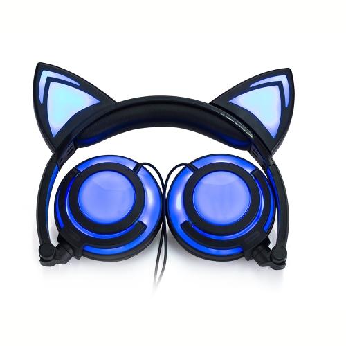 Orelhas de gato com orelha Earlaps com LED Light Rechargable Battery