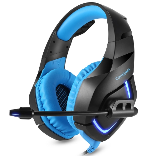 ONIKUMA K1 PC Gaming Headset 3,5 mm estéreo USB auriculares LED com microfone Controle de volume azul para PS4 Novo PC PC XBOX ONE