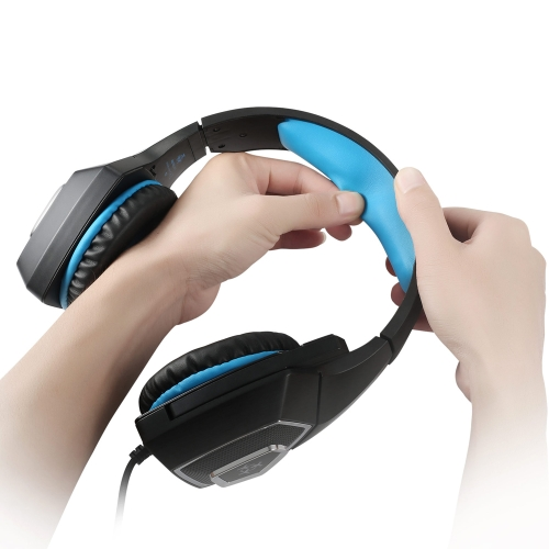 Hunterspider V-1 3.5mm Wired Gaming Headsets Over Ear Headphones Noise Canceling Earphone with Microphone Colorful LED Light Blue for PC Laptop PS4 New XBOX ONE thumbnail